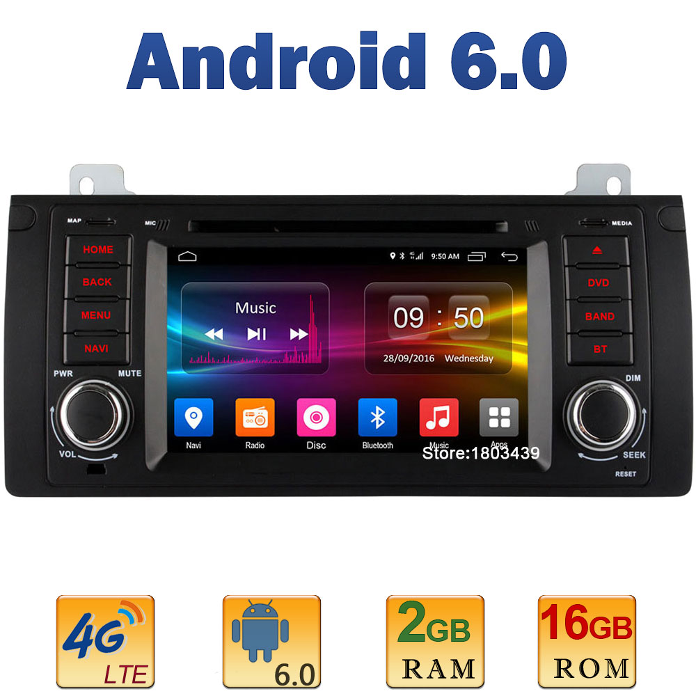 7″ Quad Core 2GB RAM 4G LTE SIM WIFI Android 6.0 Car DVD Multimedia Player Radio For BMW 5 Series E39 X5 E53 M5 Range Rover DAB+