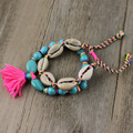 2017 New 4Color Fashion Handmade Spring Jewelry Shell Link Turquoise Beads String Ethnic Bracelets Tassel For Lady