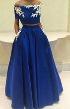 2016 Two-Piece Elegant Evening Dress Strapless neckline with Off the Shoulder Appliques A-Line Floor-Length Dresses Party gowns