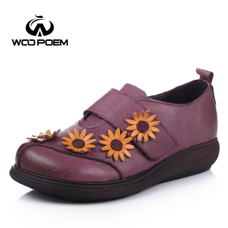 WooPoem Spring Autumn Shoes Women Breathable Cow Leather Loafers Shoes Comfortable Low Heel Flats Casual Flower Lady Shoes 611 top brand high quality genuine leather casual men shoes cow suede comfortable loafers soft breathable shoes men flats warm