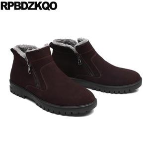 Image 3 - Male Snow Zipper 2017 Plus Size Ankle Winter Mens Boots Warm Black Shoes Fashion Comfortable Short High Top Footwear