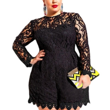 Adogirl Plus Size L-6XL Women Lace Romper Solid Hollow Out Long Sleeve Jumpsuits Sexy Shorts Playsui