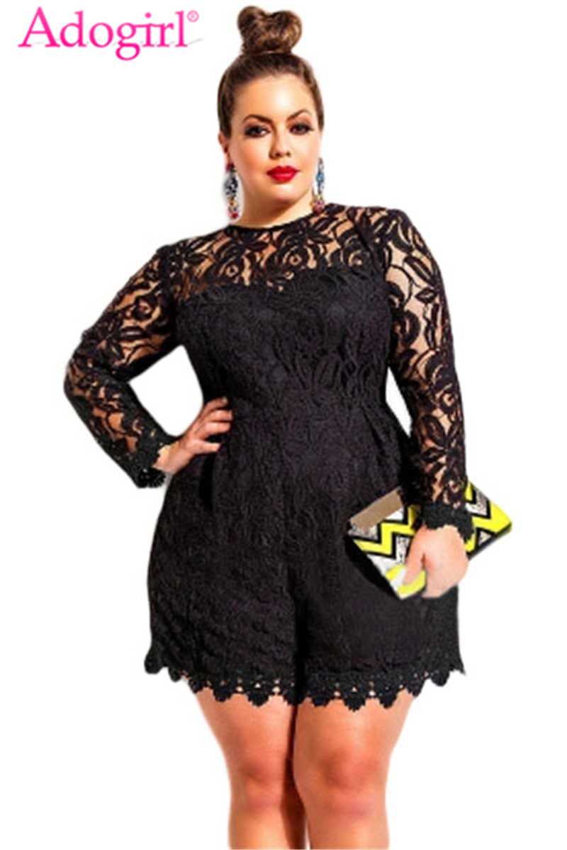 Adogirl Plus Size L-<font><b>6XL</b></font> Women Lace Romper Solid Hollow Out Long Sleeve Jumpsuits <font><b>Sexy</b></font> Shorts Playsuit Ladies Clubwear Bodysuits image