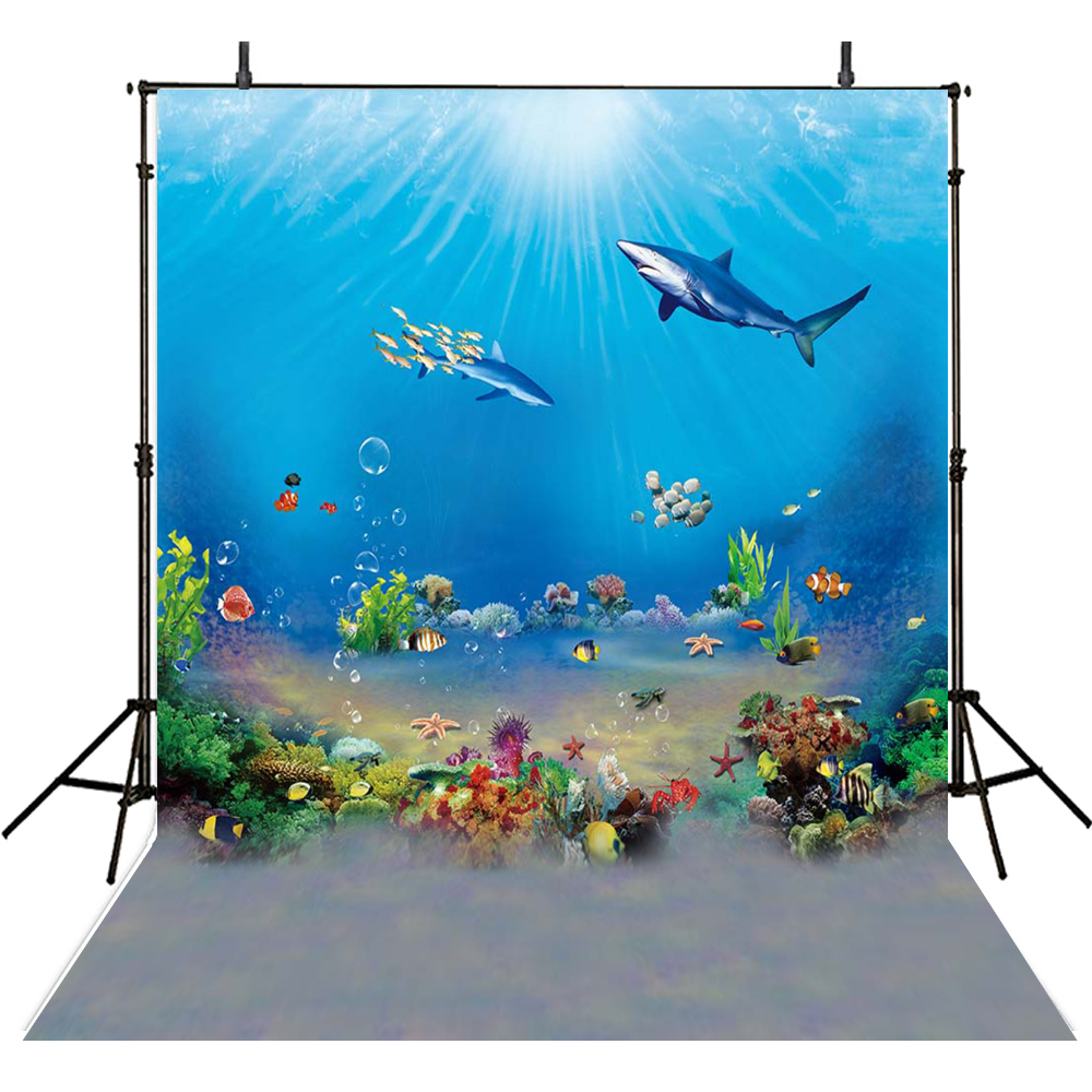 Ocean Fish Photography Backdrop Kids Vinyl Backdrop For Photography Photocall Underwater Background For Photo Studio Cortina Photo Studio