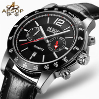 Aesop Quartz Watch Men Racing Multifunction Chronograph Clock Stainless Steel Case Leather Strap Push Button Hidden