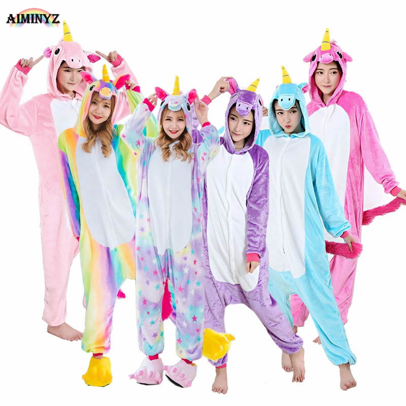 Autumn Winter Adult Unisex Flannel Costume Cosplay Pegasus Hooded Onesies Pajamas Sets Lovely Animal Hoodie For Women And Men