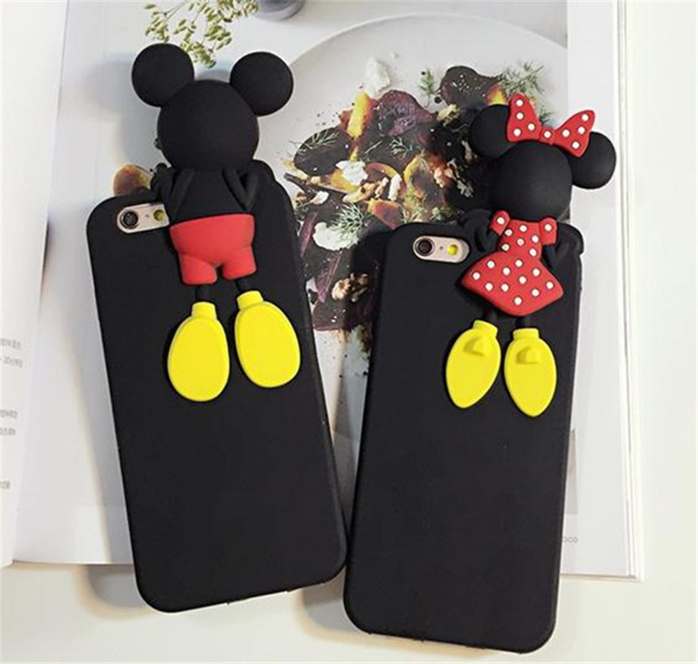 Lovely Cute Cartoon Mickey Mouse Minnie Duck Stitch Soft Silicone Rubber Cover Case For iPhone 5/5s/6/6plus ECA148/ECA149/ECA150