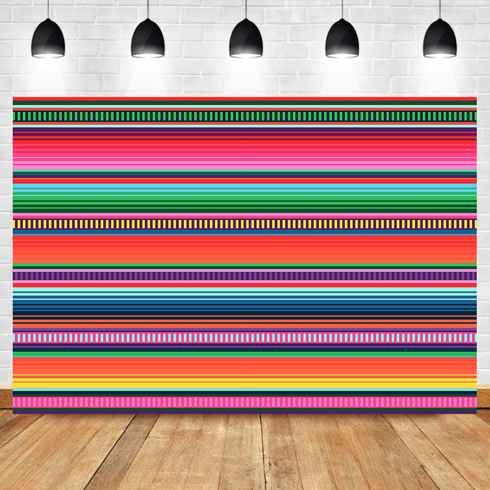 NeoBack Mexican Fiesta Colorful Stripe Photography Backdrops Custom Vinyl Background