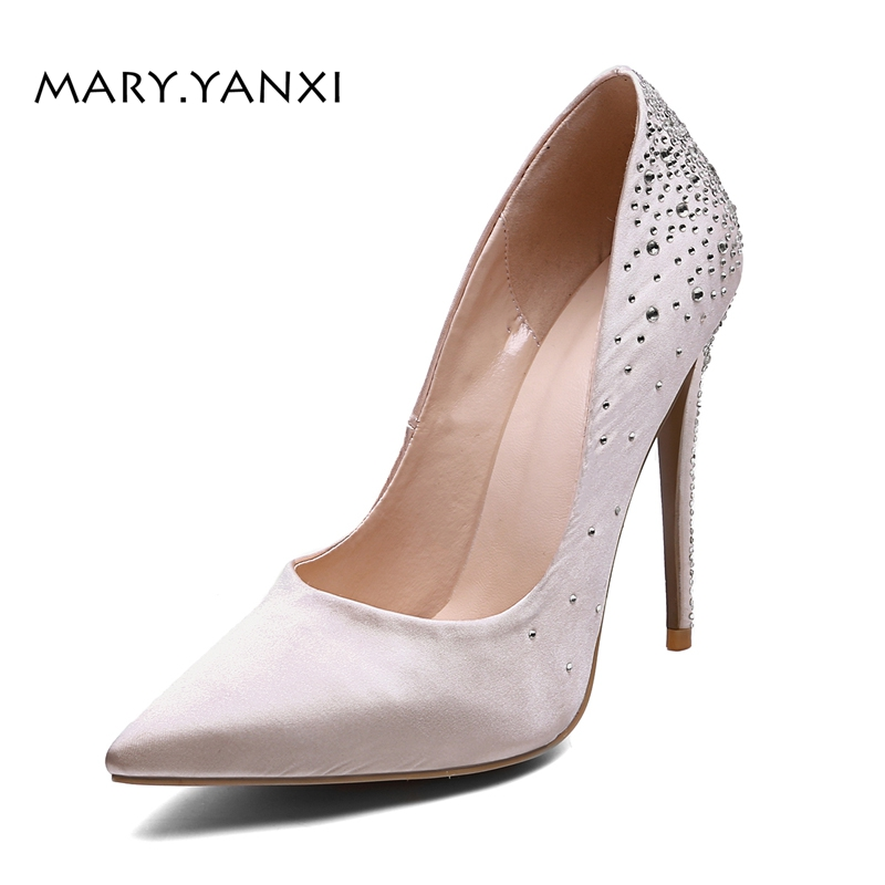 Spring/Autumn Women Pumps Lady Shoes Satin Plus Size Crystal High Thin Heels Pointed Toe Fashion Party Slip-On Shallow Stilettos women pumps big size shoes crystal bling air mesh transparent high thin heels pointed toe fashion party sexy slip on shallow
