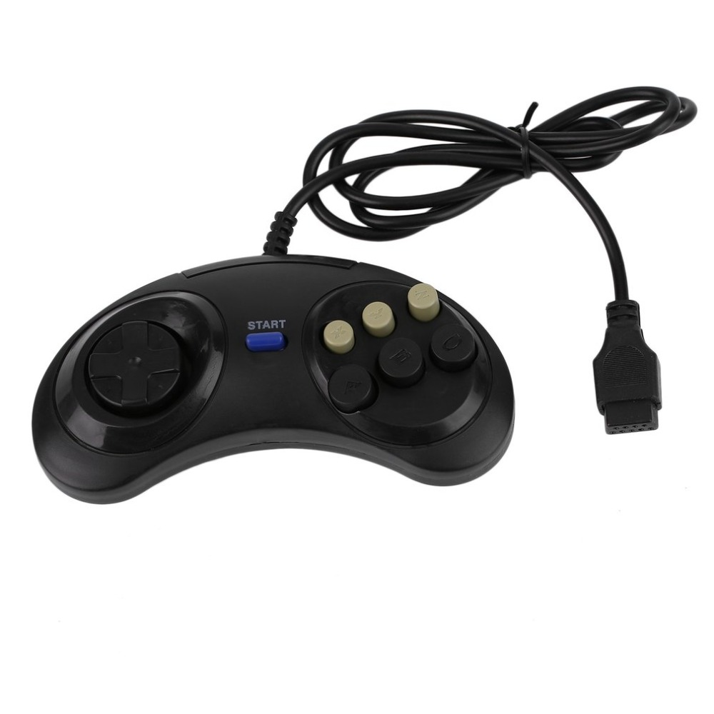 все цены на Six Buttons Game Handle Command Pad Black Gamepad For Sega Megadrive for Mega Drive Deluxe Drive Wonder Mega Joystick