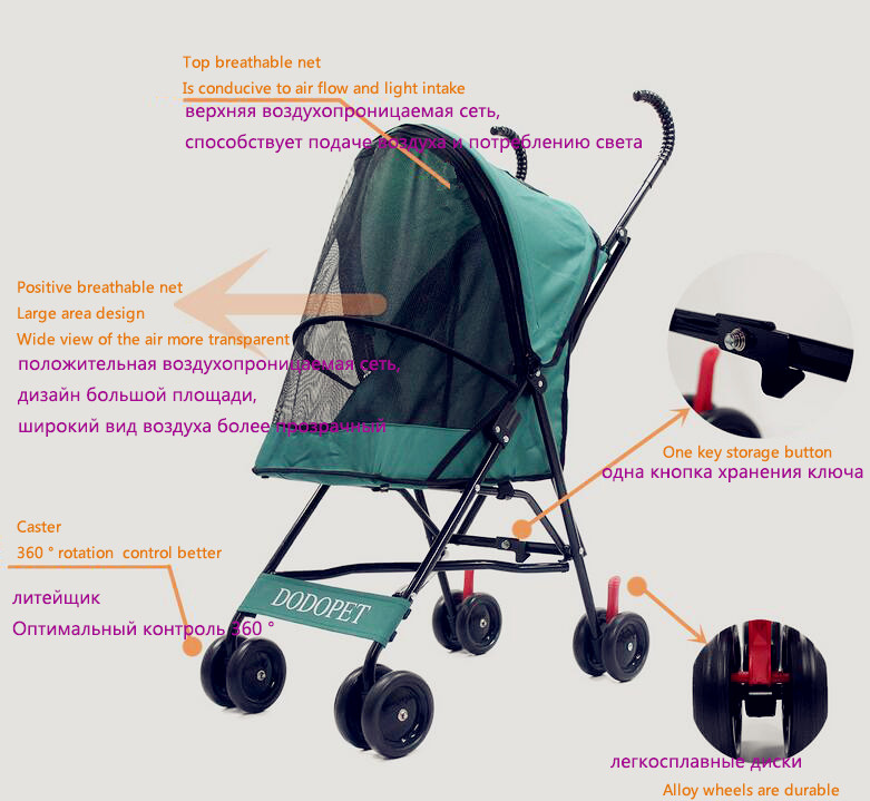 ᗗNewest!Cheapest! Fashion Portable Cat Stroller Foldable ...