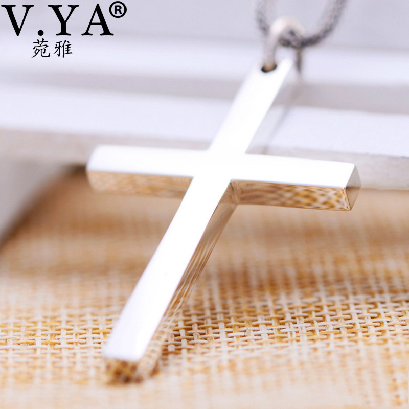 V.YA S925 Solid Silver Cross Pendant High Quality Real Pure 925 Sterling Silver Cross Pendant For Men Women Jewelry