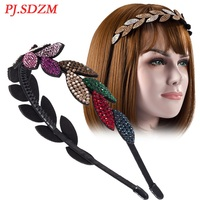 Wholesale Leaf Shape Hairband For Wedding Party Jewelry Headband Full Crystal Rhinestone Teeth Non Slip Hair