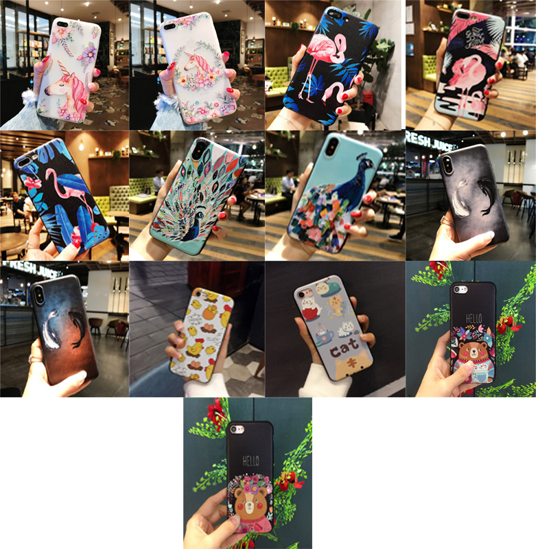 Cartoon animal 3D relief Cute unicorn phone case TPU Silicone Rubber Soft Cover Cases for APPle iphone 5 5S SE 6 6S 7 8 Plus X