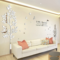 Twins Lovers Acrylic 3D Large Size Tree Wall Decoration Mirror Wall Stickers TV Backdrop Home Decor Living Room Stickers