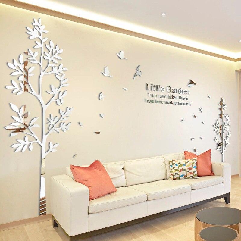 Twins Liebhaber Acryl 3D Große Größe Baum Wand Dekoration Spiegel  Wandaufkleber TV Hintergrund Wohnkultur Wohnzimmer Aufkleber