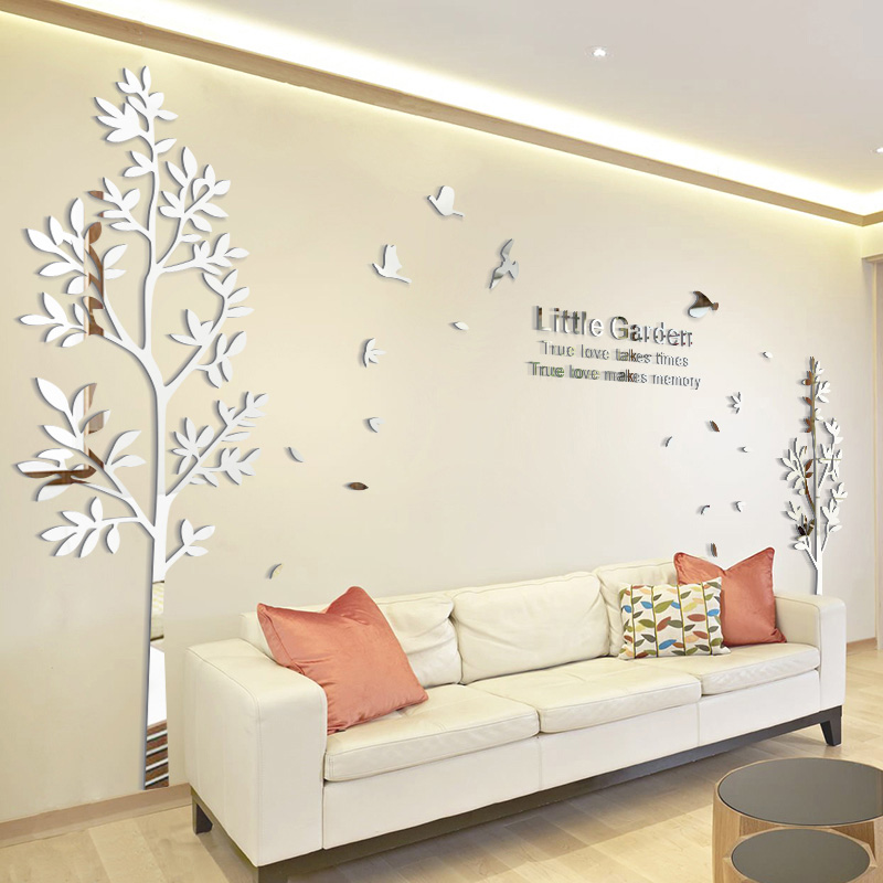 Us 22 69 30 Off Twins Acrylic Large Size Tree Wall Decoration Mirror Stickers Tv Backdrop Home Decor Living Room In