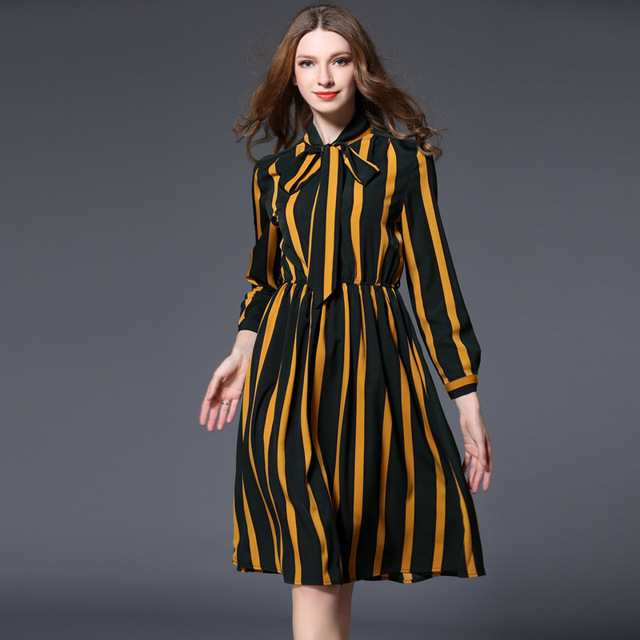 f13d67073cf European Wish Spring Clothes Woman Stripe Chiffon Dress Restore Ancient  Ways Lady Of Quality Waist To Show Thin A Word Shirt