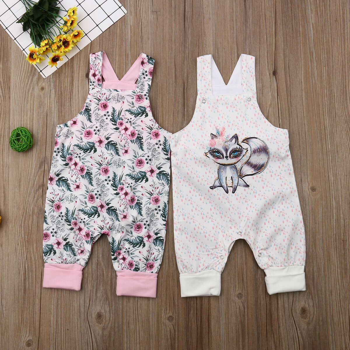 Pudcoco Newest Fashion Newborn Baby Girl   Romper   Sleeveless Flower Fox Print   Romper   Jumpsuit One-Piece Outfit Playsuit Clothes