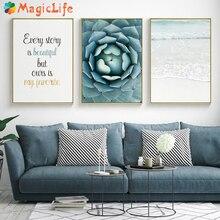 Meerwasser Ozean Wand Kunst Leinwand Malerei Für Wohnzimmer Nordic Poster Buchstaben Zitate Dekoration Wand Bilder Unframed