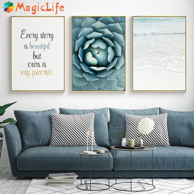 Seawater Ocean Wall Art Canvas Painting For Living Room Nordic Poster Letters Quotes Decoration Wall Pictures Unframed-in Painting & Calligraphy from Home & Garden