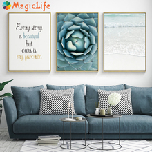 Seawater Ocean Wall Art Canvas Painting For Living Room Nordic Poster Letters Quotes Decoration Wall Pictures Unframed