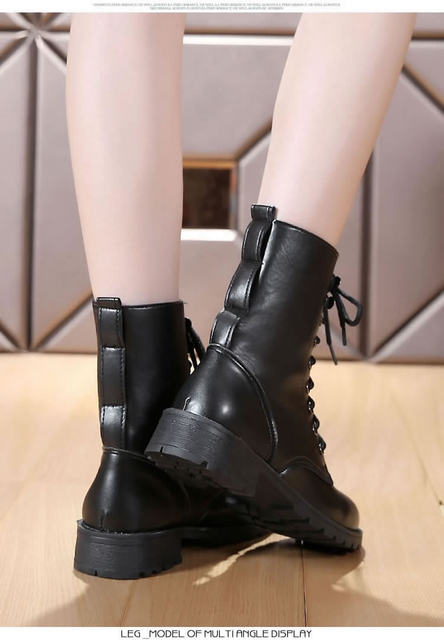 2019 New Buckle Winter Motorcycle Boots Women British Style Ankle Boots Gothic Punk Low Heel ankle Boot Women Shoe Plus Size 43 23