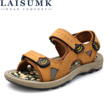 LAISUMK New 2019 Summer Men Sandals High quality Genuine leather Men Slippers Comfortable Fashion Sewing Men Beach Shoes цена