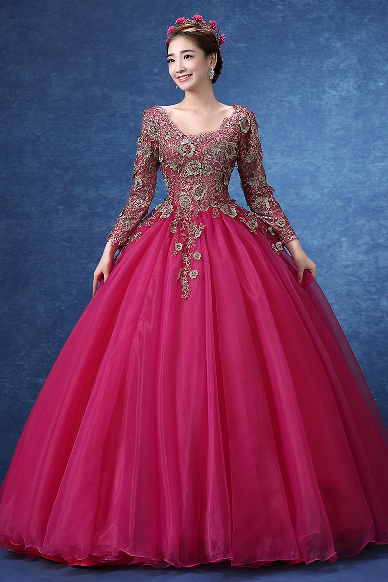 100%real embroidery beading hot pink ball gown medieval dress ...