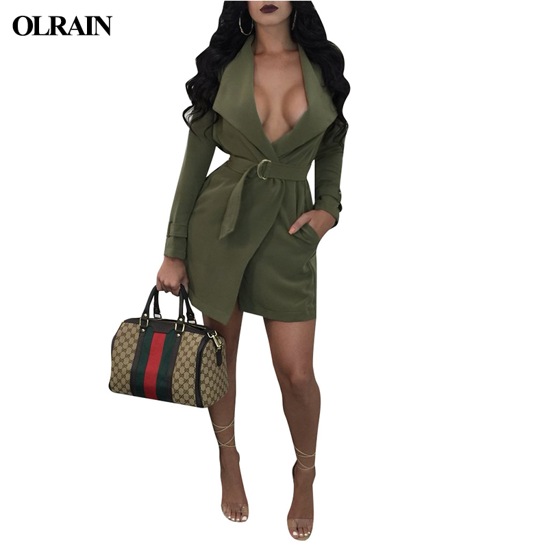 Olrain Spring And Autumn Cardigan Jack Fashion Hot Long-Sleeved Lapel Low-Cut Slim Belt Buckle Metal Buckle Hem Open Trench