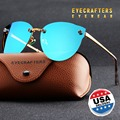 Eyecraftes Brand Designer Retro Mirror Cat Eye Sun Glasses Luxury Eyewear Shades Black Womens Polarized Sunglasses Fashion Blue