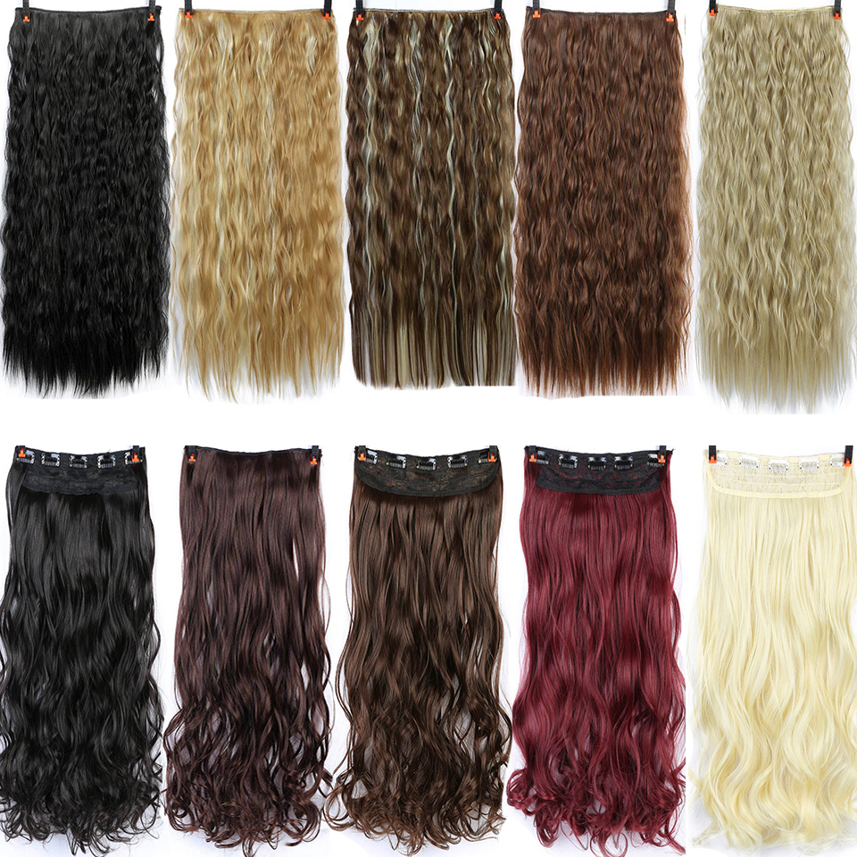 Allaosify  60cm Long Synthetic Hair Clip In Hair Extension Heat Resistant Hairpiece Natural Wavy Hair Piece