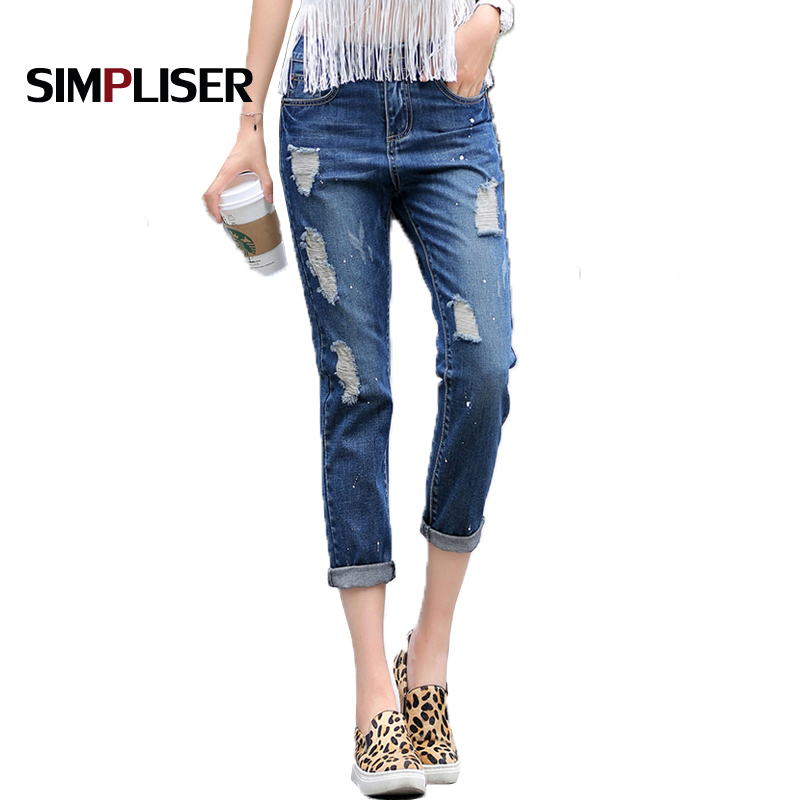 Tamaño Harem Ripped 32 Flojo Jeans Denim Femme Mujer Verano Más Loose Novio Pantalon  Pantalones Agujeros Azul nzA1R6 7b2c6695ccc9