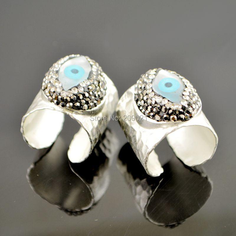 Nowe Charms ~ 5 sztuk Posrebrzane Rhinestone Crystal Rings, Shell Eye - Modna biżuteria - Zdjęcie 3