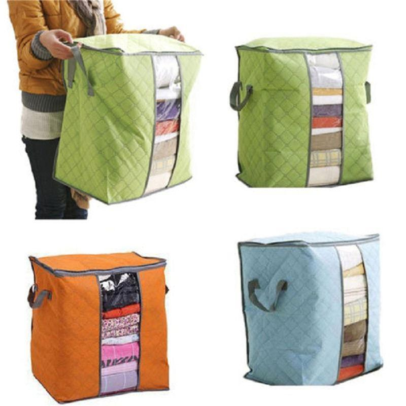 Image 2 - Lasperal Quilt Storage Bags Cotton Home Storage Organizer Portable Anti dust Wardrobe Bamboo Clothes Bag Pouch Storage Box-in Storage Bags from Home & Garden