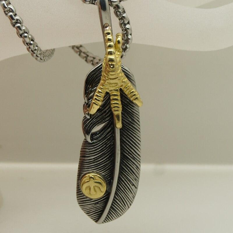 Вары ширина и длина стали цепи перо золотое покрытие Paw 316L Нержавеющая сталь ожерелье