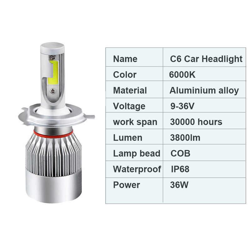 Infitary 2 Pcs H7 LED Car Headlights H4 LED H1 H8 H10 H11  9004 9005 9006 9007 72W 7600LM 6000K 12V 24V Auto Headlamp Light Bulb