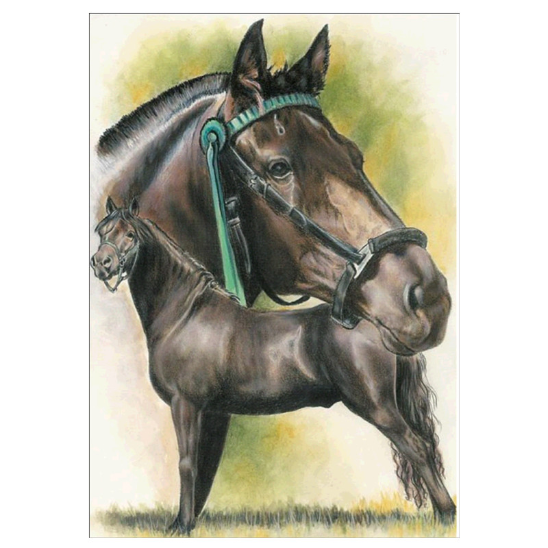CaiLong1990 Embroidered Animal Cross Stitch 5D DIY Full Circle Diamond Painting Horse Mosaic Rhinestone Decoration
