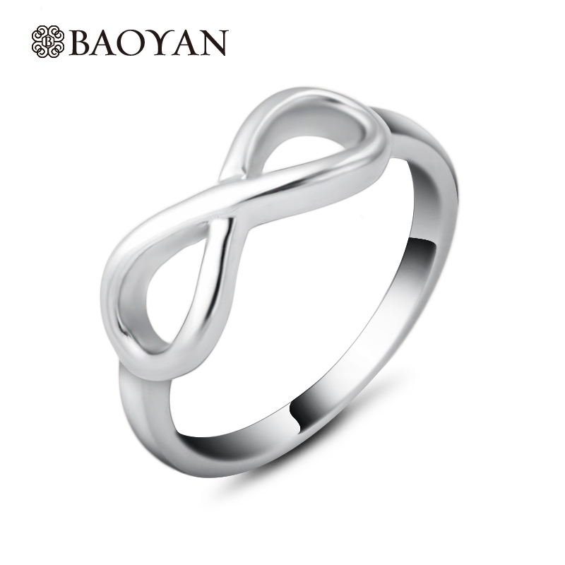 Fashion Unique Design Infinity Love Silver Plated Rings For Women 316L Stainless Steel B ...