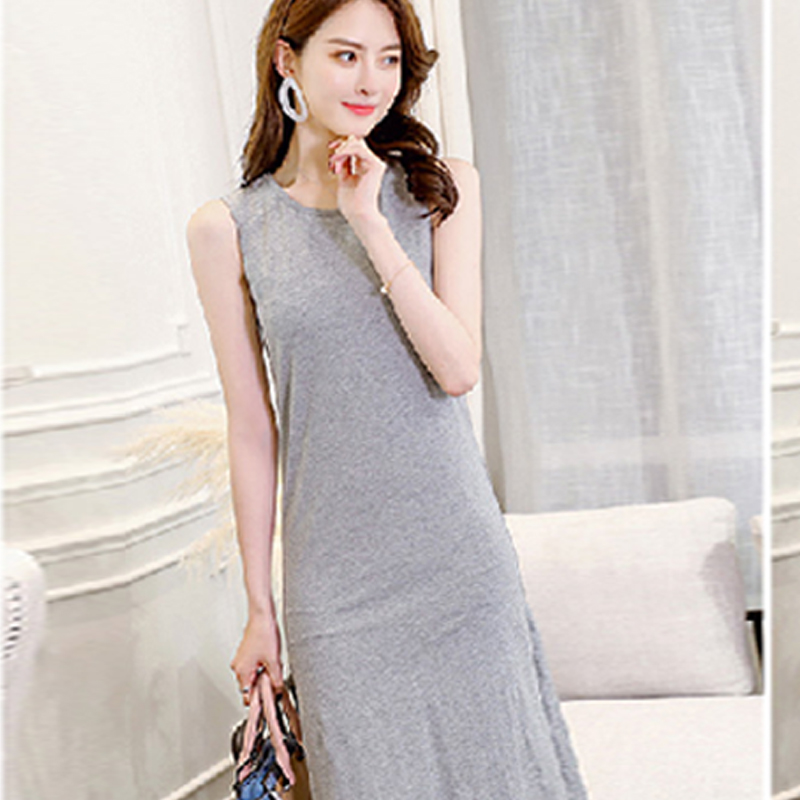 2018 Women Dress Summer Sleeveless Solid Dress Women Swish