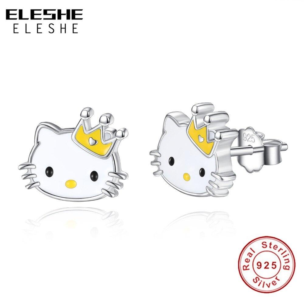 ELESHE Lovely 925 Silver Small Cat Stud Earring Crown Kitty