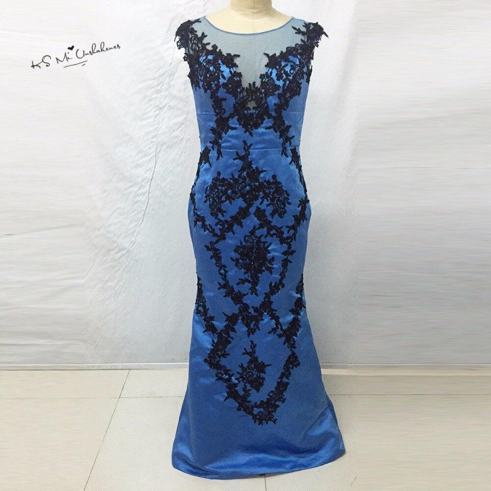 Splendida Blue Black Lace Mermaid Abiti Da Sera Formale Abiti per donne Vestito Lungo Delle Donne Cap Sleeve Robe de Soiree Baile