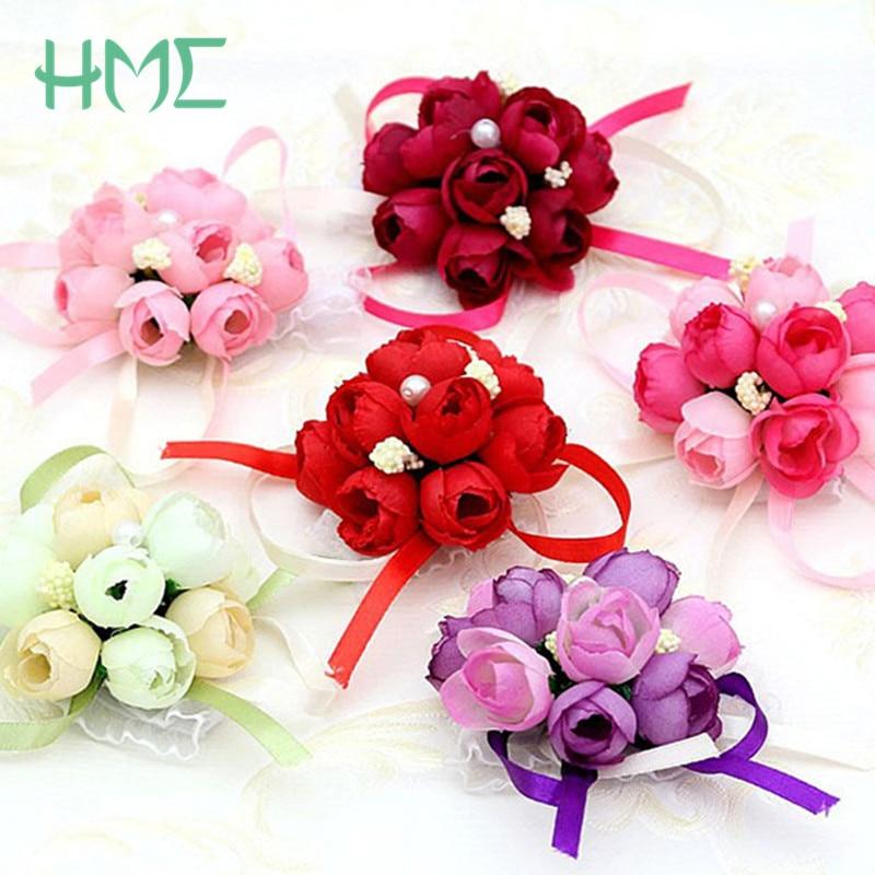 5pcs Wrist Flower Rose Silk Ribbon Bride Corsage Hand Flower Decorative Wristband Bracelet Bridesmaid Curtain Band Clip Bouquet Health & Beauty Medical & Mobility