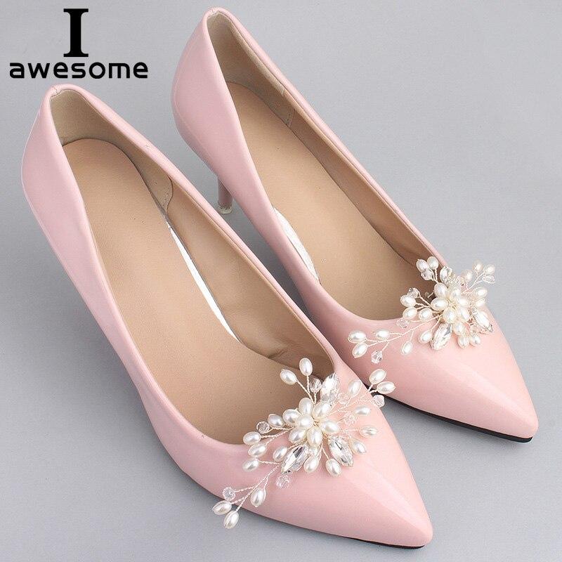 1 par Pérola Decorativas Clipes De Sapato, Rhinestone Cristal Charme Elegante Da Flor Do Casamento Moda Calçados Decorações Acessórios