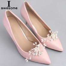 цена 1 Pair Pearl Decorative Shoe Clips, Rhinestone Crystal Charm Elegant Flower Fashion Wedding Shoes Decorations Accessories в интернет-магазинах