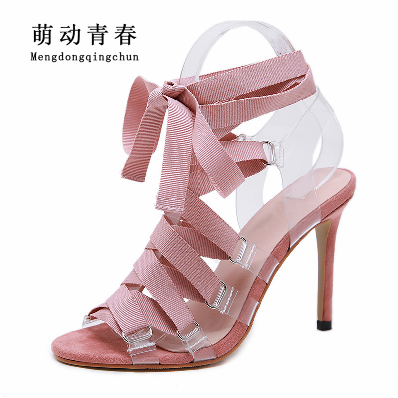 New Summer High Heeled Sandals <font><b>Women</b></font> Open Toe Lace Up Thin <font><b>Heels</b></font> Pumps Sexy Clear PVC Ankle Strap Lace Up Hollow Out <font><b>Women</b></font> Pumps image