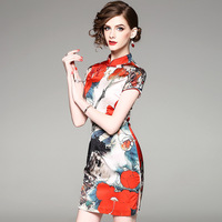 Woman chinese satin silk Dress Daily Cheongsam modern qipao robe longue femme orientale rouge vestidos vestido party dresses