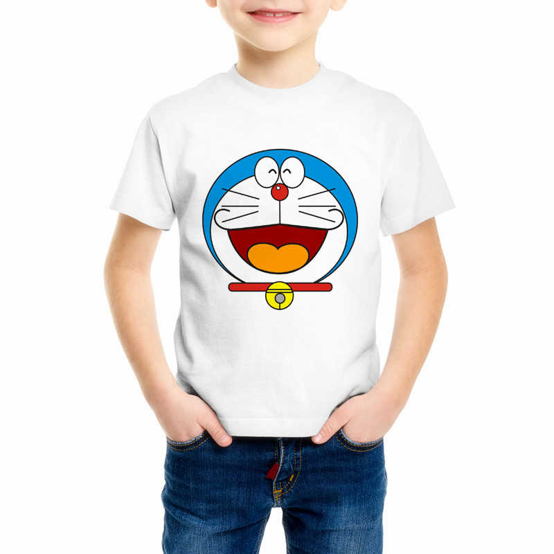 Camiseta de dibujos animados para niños de Doraemon Harajuku japonesa camiseta de verano para niños y niñas de cuello redondo de manga corta Camisetas C10-2