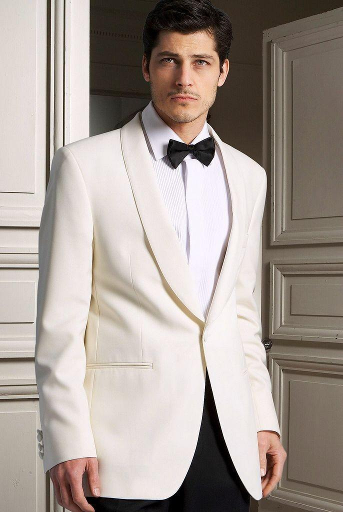 Latest Coat Pant Designs Ivory White Shawl Lapel Formal Custom Wedding Suits For Men Bridegroom 2