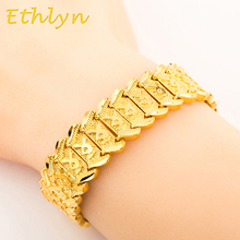 Ethlyn 23cm*16mm Punk wind Bracelet Gold Color Cooper Material Men jewelry Wide Chain Bracelet Wholesale B006